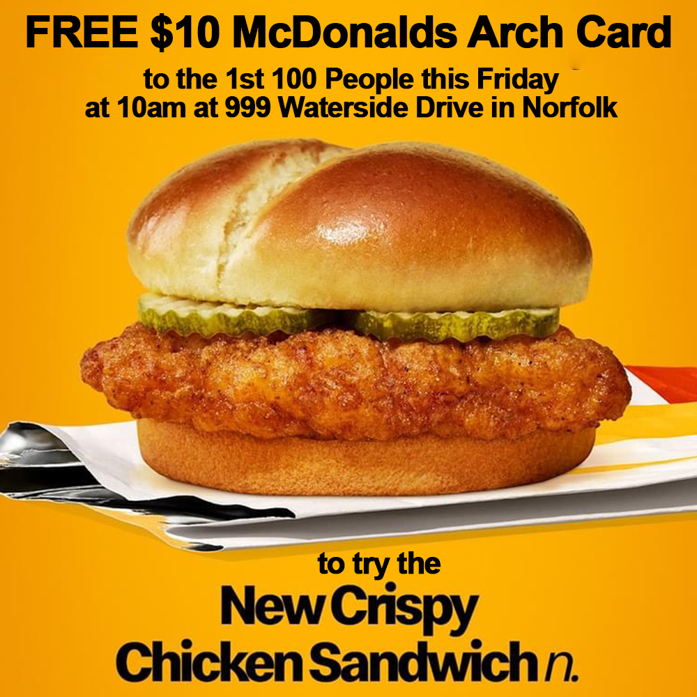 McDonald's Arch Card Giveaway for the NEW Chicken Sandwich.